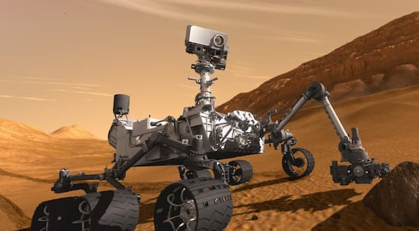 A photograph of The Mars Rover on Mars.